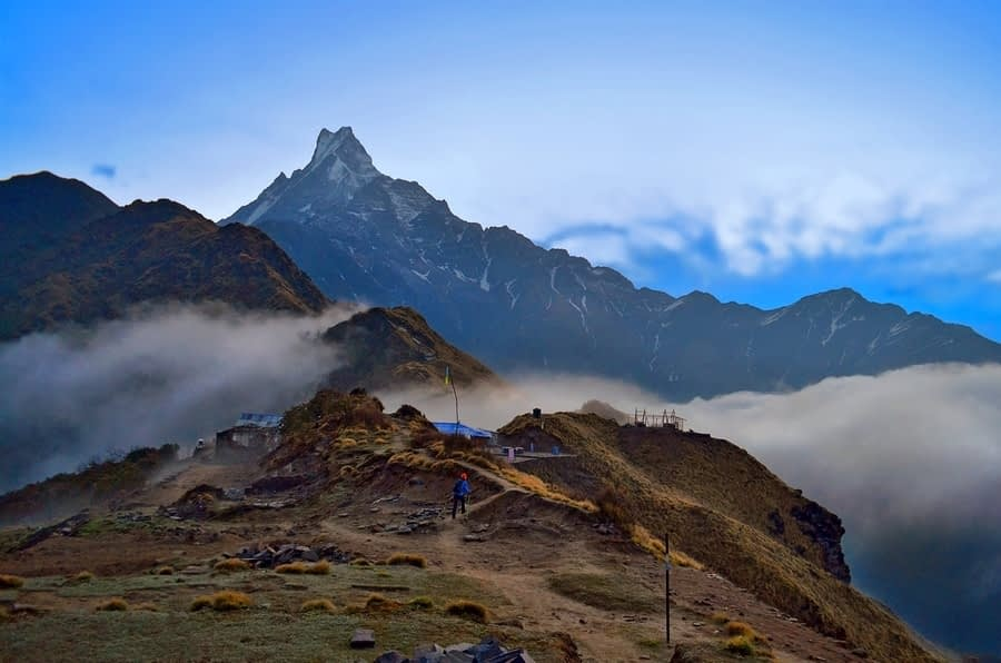 Evening in the Himalaya mountains. Machapuchare peak, Fish tail top.